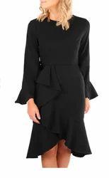 Medium Black Ruffle Accent Midi Dress