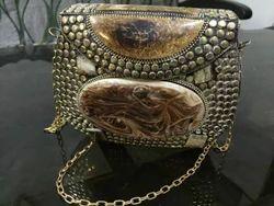 Brown Handmade Resin Metal Bag