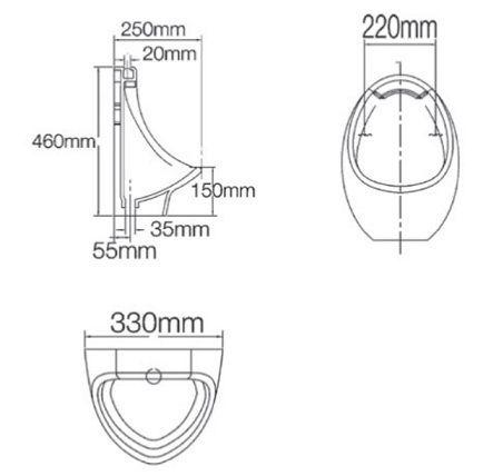 Parryware Niagara Spreader Urinal C8113
