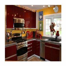 Glossy Maroon Modular Kitchen
