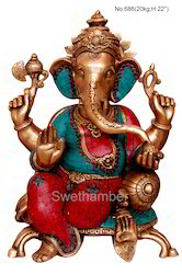 Sitting Ganesha Brass
