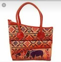 Bi Shoulder Pattern Mini Cut Zip Design Leather Shantiniketan Handbags