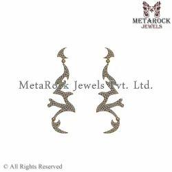Indian Handmade 14k Yellow Gold Diamond Earring