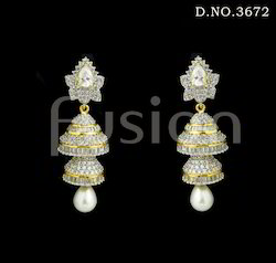 American Diamond Pearl Earrings