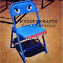 """Blue Mild Steel Folding Metal Chair - Outdoor Cafe Restaurant Food Court, Size: 18"""" Sitting Height"""
