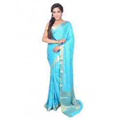 9a68a5a808642 Chiffon Golden Boontis Ferozi Party Wear Saree