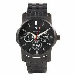 Swiss Trend Premium Black Dial And Chain Metallic Mens Watch