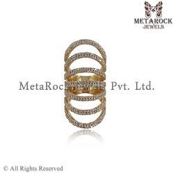 14k Yellow Gold Pave Diamond Knuckle Ring