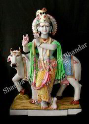 Marble Krishna With Cow Moorti