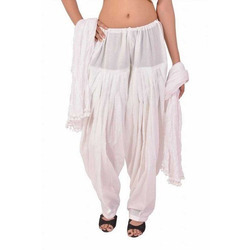 White Cotton Patiala Salwar With Dupatta
