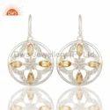 Citrine Gemstone 925 Sterling Silver Earrings