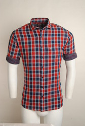 Red Blue Checked Urban Design Casual Shirts