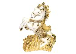 Polyresin White and Golden Fengshui Running Horse Galloping