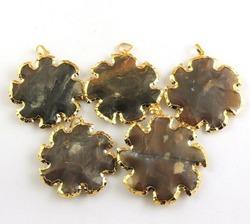Jasper Sun Shape Gold Electroplated Pendant