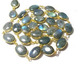 Labradorite Plain Bezel Set Gemstone Connector Chain