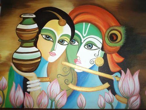 Radhe Krishna Painting Poster