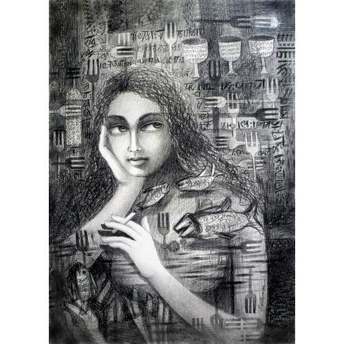 Girl pencil painting