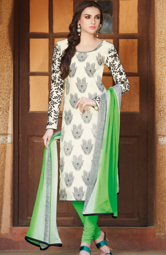 f5d1b6d0bc0 White And Green Cotton Silk Unstitched Salwar Kameez at Rs 1550 ...