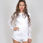 691b9da1dc59 White Lace Sleeve High Neck Jumpsuit at Rs 1699  piece