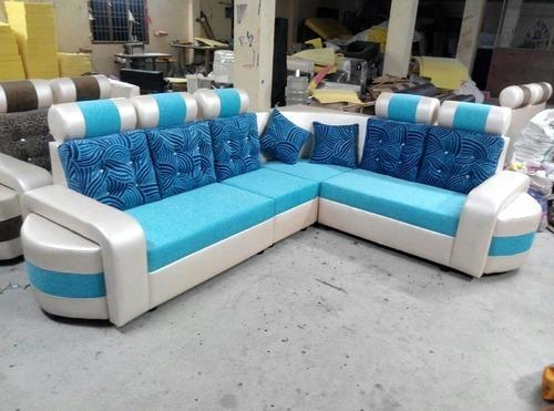 Not Sure Blue White Attractive Corner Sofa
