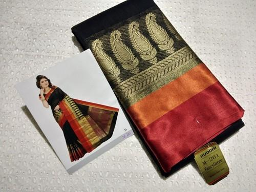 Raw Silk Sarees, Length: 6.3 m with Blouse Piece