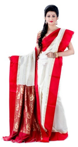 0361849731 Red & White Traditional Silk Saree, Rs 1100 /piece, Rividea ...