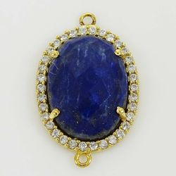 Gold Plated Lapis Pave Set Connector