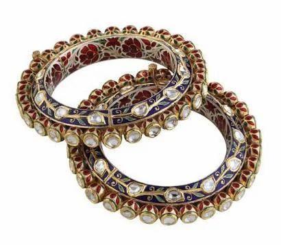Nakkash Jewellers Party Wear Kundan Meena Polki Bangles