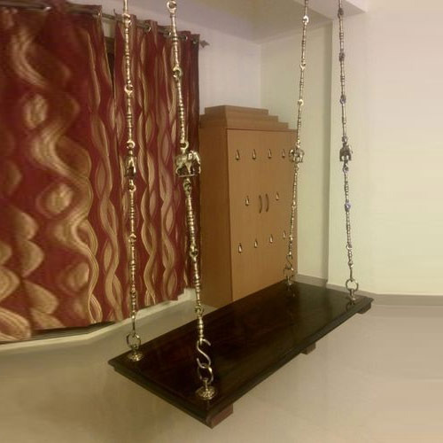 Traditional Indoor Wooden Swing Brass Jhula Rod Vivek