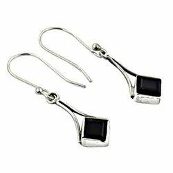 Attractive Black Obsiden Gemstone 925 Silver Earrings