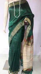 Dupion Silk Saree with Blouse Piece, Length: 6 m