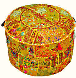 Round Patchwork Ottoman Pouf Cover