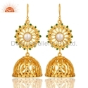 Gold Plated Silver Diamond Traditional Jhumka Earring