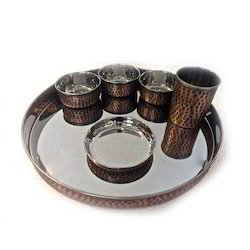 Smokey Finished Copper Rajwara Thali Set