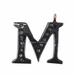 Pave Diamond M Pendant, Packaging Type: Box