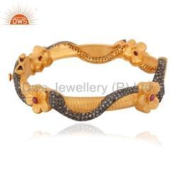 Designer Pave Diamond Bangle Jewelry