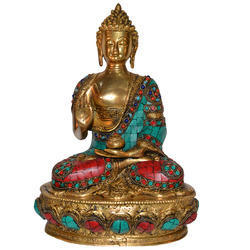 Brass Lord Sitting Buddha With Stone Blessing Antique Idol Statue Sculpture