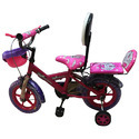 Pink Plastic Kids Bicycle, Foam Padded With Backrest, Basket