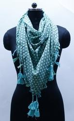 EGSC00026 Print Cotton Scarf with Contrast Tassels