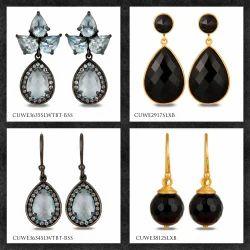Silver Gemstone Earring Jewelry
