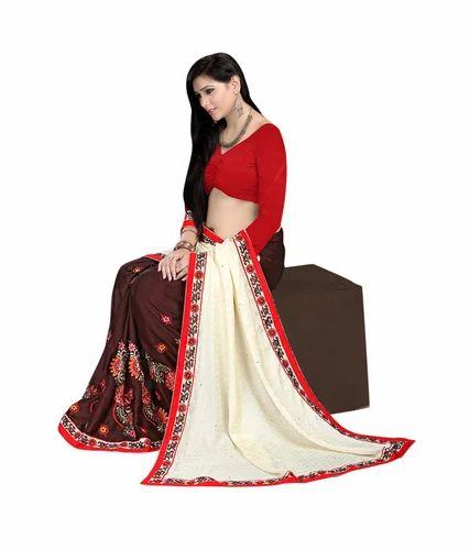 675a984081a9c2 P.Puria White Brown Pure Silk And Chiffon Embroidered Saree - Shri ...