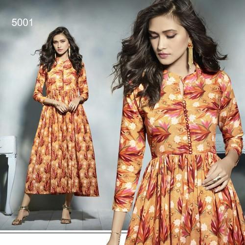 76d056788daa Cotton Frock Style Printed Designer Gown