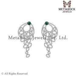 Pave Diamond 925 Sterling Silver Drop Earring