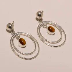 E0066 Sterling Silver Tiger Eye Earring 7