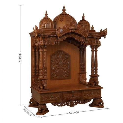 MA-Temple Hand Carved Teak Wood Temple For Home, For Home