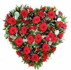 50 Red Roses Heart Shape Basket