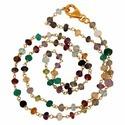 Multi Stone Gemstone Rosary Chain Necklace