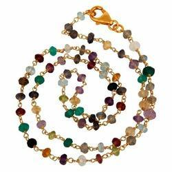 Multi Stone Gemstone Rosary Chain Necklace