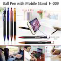 Blue Plastic Ball Pen With Mobile Holder H-009
