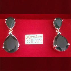 Black Stone Gold Plated Earring